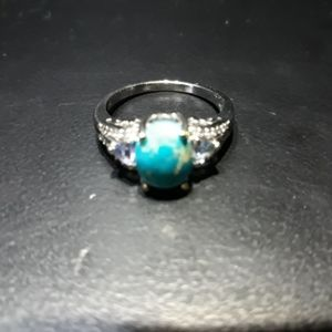 Natural Turquoise/Blue Topaz Ring L10